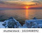 sunrise in porto vathy. thassos ... | Shutterstock . vector #1023408592