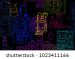vector seamless pattern with... | Shutterstock .eps vector #1023411166