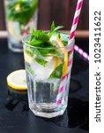 fresh homemade lemonade in... | Shutterstock . vector #1023411622