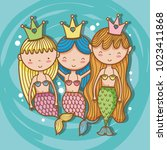 little mermaids art cartoon | Shutterstock .eps vector #1023411868