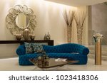 modern living room design with... | Shutterstock . vector #1023418306
