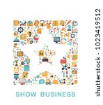 business icons are grouped in... | Shutterstock .eps vector #1023419512