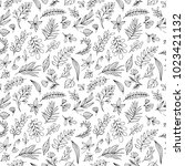 botanical hand drawn seamless... | Shutterstock .eps vector #1023421132