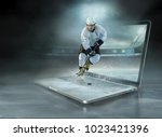 caucassian ice hockey players... | Shutterstock . vector #1023421396