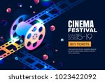 vector glowing neon cinema... | Shutterstock .eps vector #1023422092