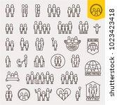 family. family icons set. thin... | Shutterstock .eps vector #1023423418