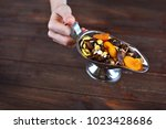 dried apricots with dried...   Shutterstock . vector #1023428686