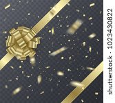 gold gift ribbon with realistic ... | Shutterstock .eps vector #1023430822