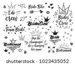 set of hen bridal and... | Shutterstock .eps vector #1023435052