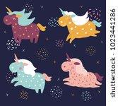 magic cute unicorns in the... | Shutterstock .eps vector #1023441286