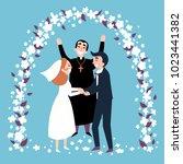 wedding religious ceremony.... | Shutterstock .eps vector #1023441382