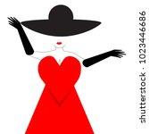 a glamorous girl wears a red... | Shutterstock . vector #1023446686