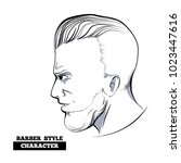 slicked back hairstyle... | Shutterstock .eps vector #1023447616