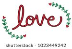 red love heart lettering | Shutterstock .eps vector #1023449242