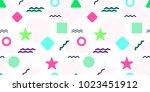 memphis style vector seamless... | Shutterstock .eps vector #1023451912