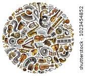 set of vector cartoon doodle... | Shutterstock .eps vector #1023454852
