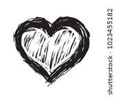 hand drawn heart in doodle... | Shutterstock .eps vector #1023455182