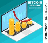 graph of falling bitcoin on a... | Shutterstock .eps vector #1023462328