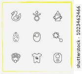 baby care line icon set rubber... | Shutterstock .eps vector #1023462466