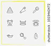 baby care line icon set pin ... | Shutterstock .eps vector #1023462472