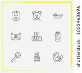 baby care line icon set... | Shutterstock .eps vector #1023463696