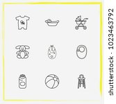baby care line icon set ball ... | Shutterstock .eps vector #1023463792