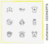 baby care line icon set... | Shutterstock .eps vector #1023465976