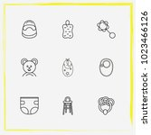 baby care line icon set bast ... | Shutterstock .eps vector #1023466126