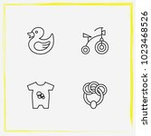 baby care line icon set rubber... | Shutterstock .eps vector #1023468526