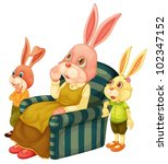illustration of a mother bunny... | Shutterstock .eps vector #102347152