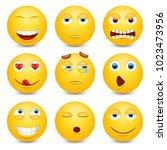set of emoji. smileys vector... | Shutterstock .eps vector #1023473956