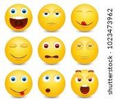 set of emoji. smileys vector... | Shutterstock .eps vector #1023473962