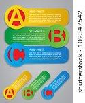 ABC Progress Vector Labels in Colors - stock vector