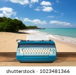 modern electric typewriter on... | Shutterstock . vector #1023481366