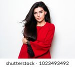 beautiful young woman with long ... | Shutterstock . vector #1023493492