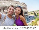 travel selfie couple taking... | Shutterstock . vector #1023496192