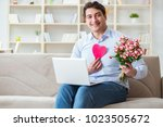 young man making marriage... | Shutterstock . vector #1023505672