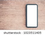 phone white screen on top view. ... | Shutterstock . vector #1023511405