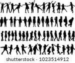 childrens black silhouettes. | Shutterstock .eps vector #1023514912