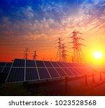solar panels and pylon | Shutterstock . vector #1023528568