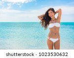 toned abs sexy slim stomach... | Shutterstock . vector #1023530632