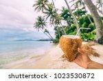 fresh coconut water drink woman ... | Shutterstock . vector #1023530872
