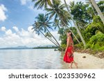 tahiti luxury travel beach... | Shutterstock . vector #1023530962