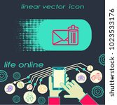 email delete vector line icon.... | Shutterstock .eps vector #1023533176
