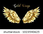 gold  faceted  polygonal wings...   Shutterstock .eps vector #1023540625