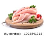 chicken meat with spices and... | Shutterstock . vector #1023541318