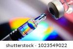 medication drug needle syringe... | Shutterstock . vector #1023549022