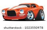 hot american muscle car cartoon.... | Shutterstock .eps vector #1023550978