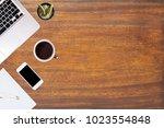 modern office desk wooden table ... | Shutterstock . vector #1023554848