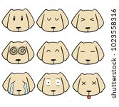 vector set of dog face | Shutterstock .eps vector #1023558316